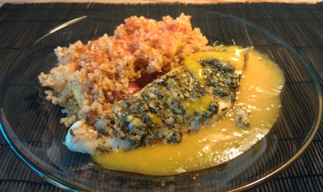 zesty cod with nectarine ginger quinoa and apricot puree