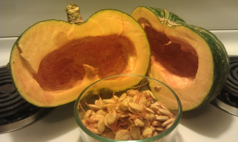 Kobucha squash halved and seeded