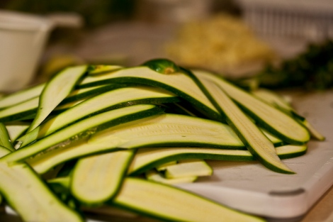 Zucchini sliced thin with a mandoline