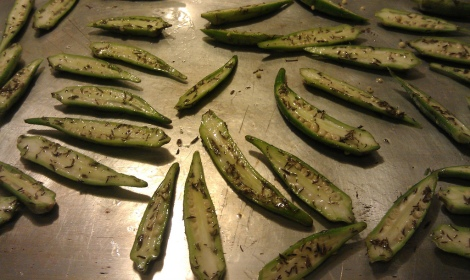 Seasoned raw okra