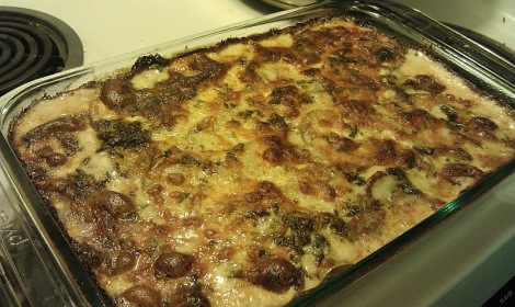 Celery root and potato au gratin, hot from the oven