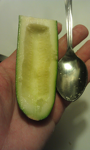 Cream cheese stuffed jalapeno substitute with a zucchini trench (photo)