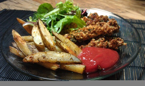 Cajun french fries and tomato-free (gluten-free, low-amine, vegan) ketchup photo