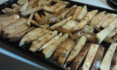French fries oiled and seasoned photo