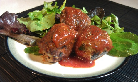 Cream Cheese & Caramelized Onion Stuffed Turkey Meatballs with Low-Amine BBQ Sauce (gluten-free, soy-free, tomato-free, low-amine) photo