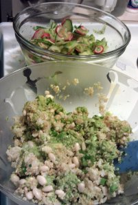 Grains bowl, and marinated vegetables bowl for quinoa salad (photo)