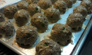 Cream Cheese Stuffed Turkey Meatballs, half-cooked