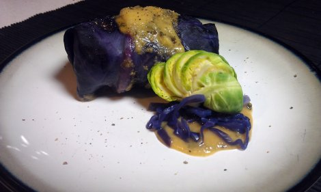 Stuffed Cabbage with Garlic Sauce photo