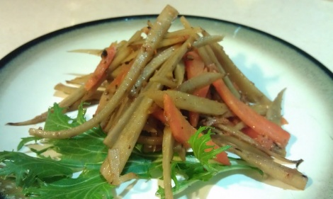 Kinpira (burdock root & carrot): Japanese Traditional Side Dish (low-amine, gluten-free, soy-free, vegan) photo