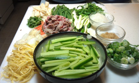 Chuka Soba ingredients, prepared (photo)