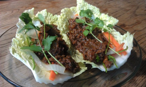 Alternate serving: BBQ Beef Cabbage Wraps with Banh Mi Vegetables (photo)