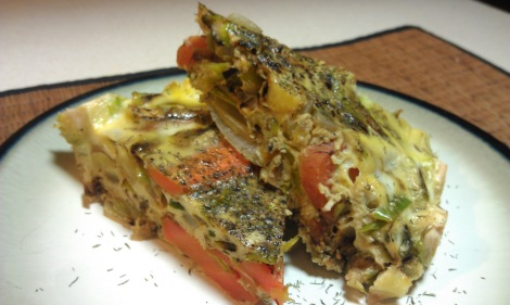 Slices of low-amine leek and sweet potato frittata (photo)