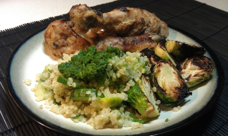 Simple Quinoa Salad with Cilantro Chutney. Served with Garlic broiled Brussels sprouts and Chicken Drumsticks. (photo)