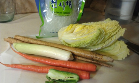 My low-amine stir-fry included: napa cabbage, gobo root (burdock root), leek, carrot, jalapeno, kelp noodles, and a sauce made up of 1/2 C soy sauce substitute, 2 tsp sugar, 1 tsp corn starch. (photo)