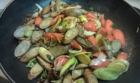 Burdock root (gobo root) and leek have been cooking, and carrot has just been added to the low-amine stir-fry. (photo)
