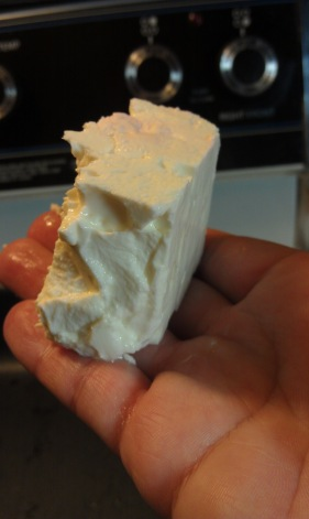 In block form, this is how much feta cheese you will need for the low-amine salad. (photo)
