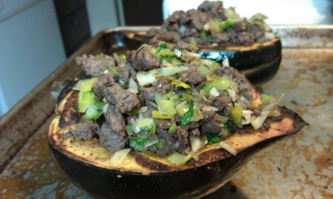 Stuffed Squash with meat, leek, and celery filling (photo)