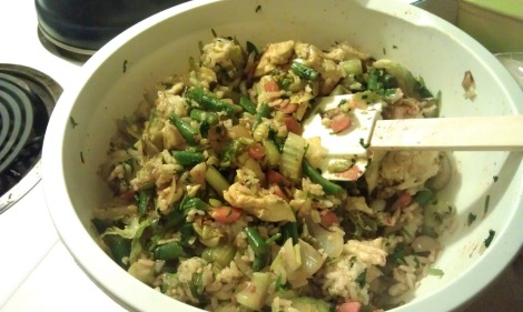 Mixing together the reduced-carb fried rice (low-amine, gluten-free, soy-free, low-carb, vegetarian) photo