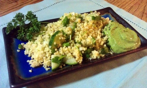 Quinoa salad served with horseradish lime avocado dressing. (photo)
