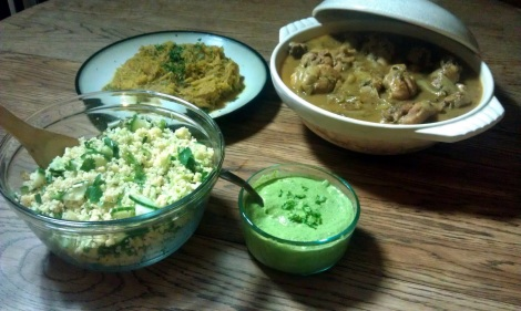 Curried chicken served with a quinoa salad, horseradish avocado lime dressing, and a modified ras el hanout spiced spaghetti squash. (photo)