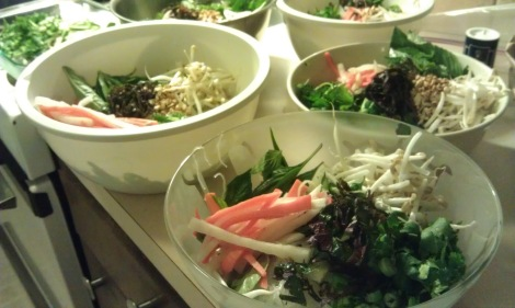 Vietnamese vermicelli noodle bowls (bun) being arranged (low-amine, gluten-free, soy-free, dairy-free, fish-free, shellfish-free) photo