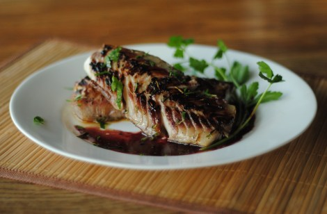 Balsamic blackened cod, plated with balsamic garlic butter reduction (photo)