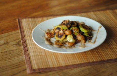 Chestnuts and brussels sprouts with chestnut puree (low-amine, gluten-free, soy-free, paleo) photo