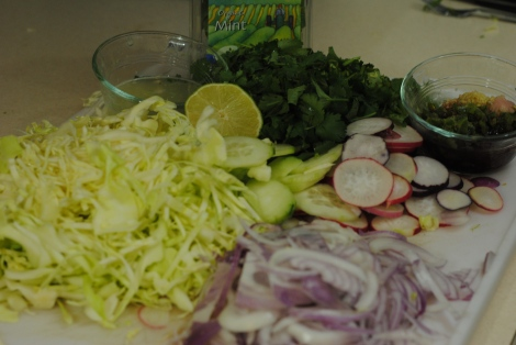 Larb Gai vegetables, chopped and sliced (photo)