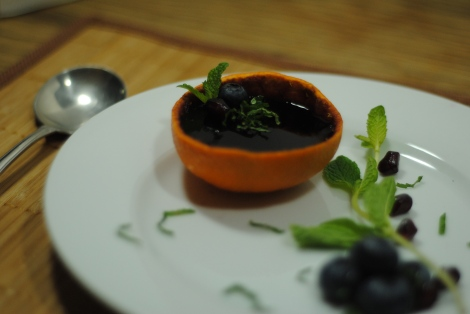 Low-Amine Blueberry Vanilla Jello in Orange Rind Dessert (photo)