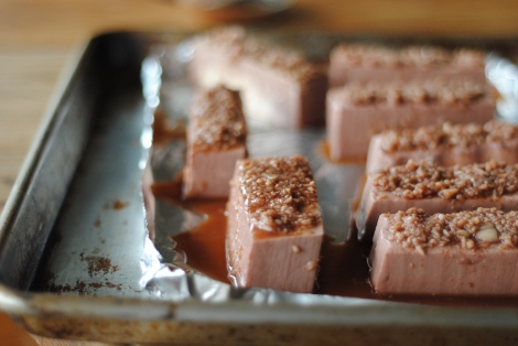 Marinated tofu with strained sauce bits on top (photo)