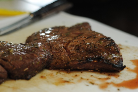 Low-amine rosemary balsamic flank steak, just off the grill (photo)