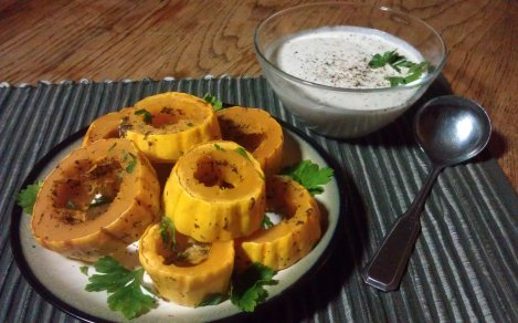 Lemon-thyme Roasted Delicatta Squash (low-amine, gluten-free, soy-free, low-fat, paleo) photo