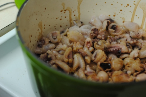 """Soy sauce"" poured over the top of octopus, ginger, and onion (photo)"