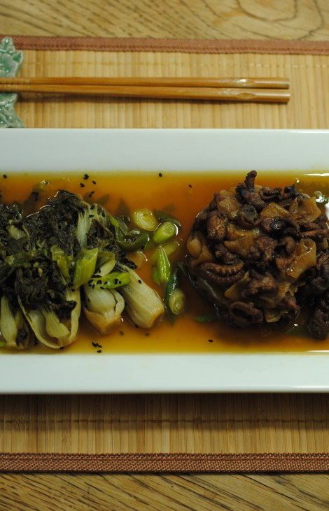 Braised Octopus and Choy Sum (gluten-free, soy-free, dairy-free, egg-free, nut-free, low-fat, low-carb) photo