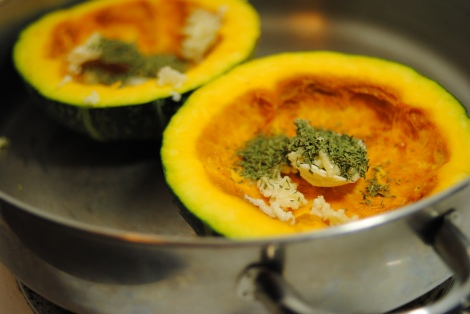 Low-Amine Kabocha Squash, with measured seasonings (photo)