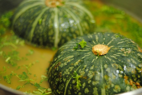 Kabocha Squash, ready for roasting. (photo)