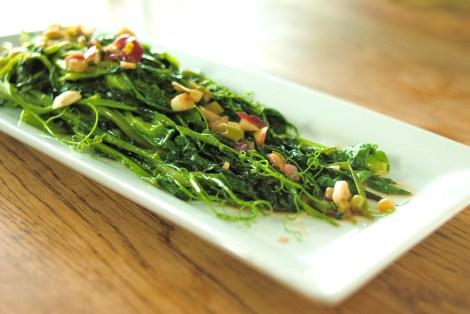 Pea Shoots sauteed in Garlic, Ginger, and Onion (low-amine, gluten-free, soy-free, dairy-free, tomato-free, nut-free, paleo, vegan, vegetarian) photo.