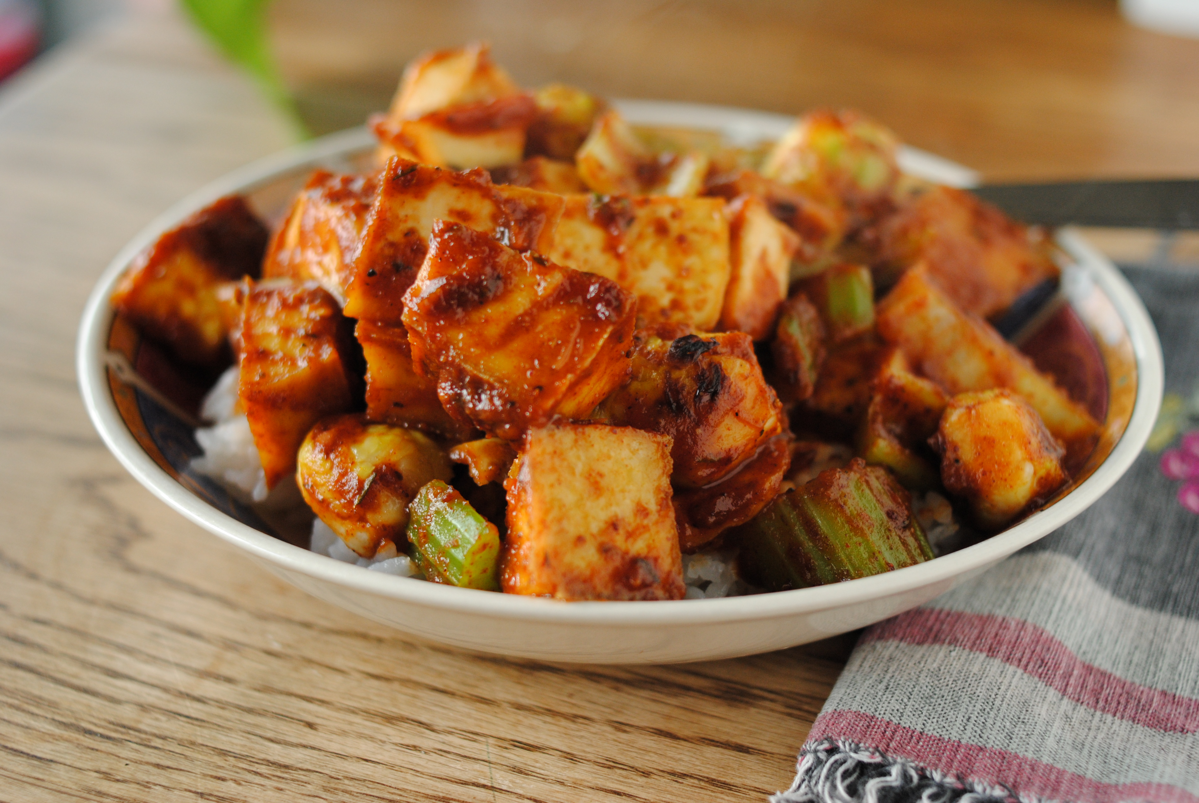 ... tofu bites. Tossed together till everything was cooked and warm, and