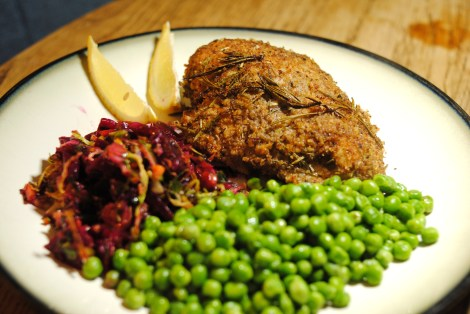 Baked Breaded Rosemary Lemon Chicken, served with a marinated minced vegetable salad and buttered peas (low-amine, gluten-free, soy-free, dairy-free, nut-free, tomato-free) photo
