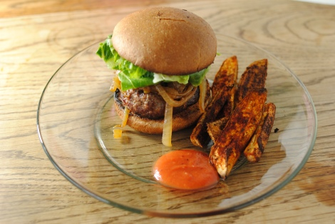 Cajun Burger with Caramelized Onions, Sweet Potato Fries and Tomato-Free Ketchup (low-amine, gluten-free, soy-free, dairy-free, nut-free, tomato-free) photo