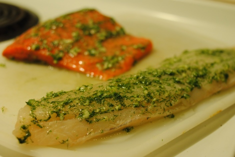 True Cod marinating in garlic, dill, and ascorbic acid (low-amine, gluten-free, soy-free, dairy-free, nut-free, paleo) photo