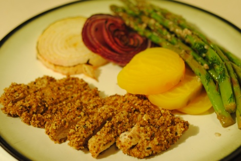 Breaded baked chicken cutlets, served with steamed golden beets, sour broiled onions, and garlic dill asparagus (low-amine, gluten-free, soy-free, dairy-free, nut-free, fish-free, tomato-free) photo